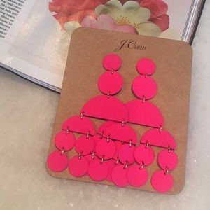NWT J.Crew Circle Statement Earrings Wild Fuchsia